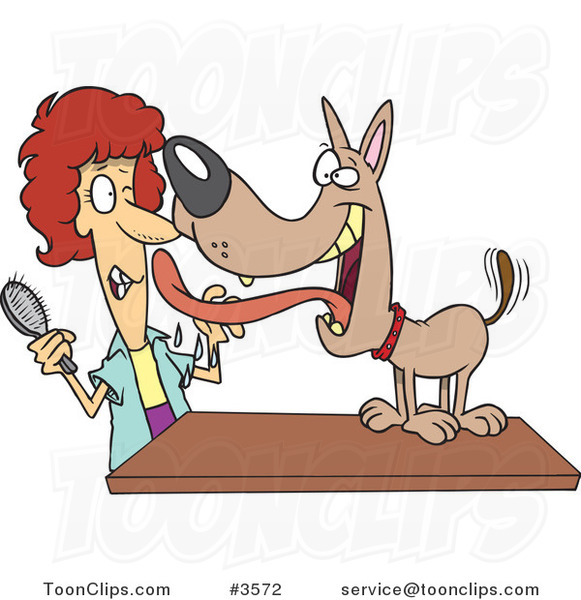 Cartoon Dog Licking His Groomer #3572 by Ron Leishman