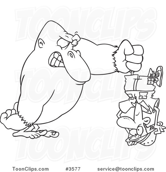 Line Drawing Upside Down : Cartoon black and white line drawing of a gorilla holding