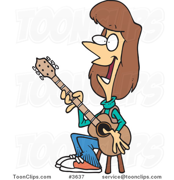 Cartoon Female Guitarist Sitting on a Stool