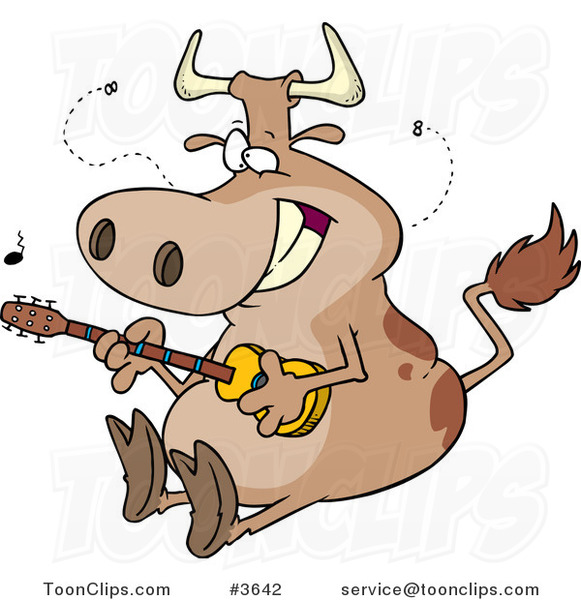 Cartoon Cow Guitarist
