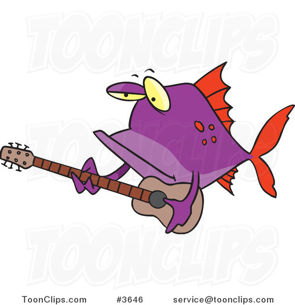 Cartoon Purple Fish Guitarist