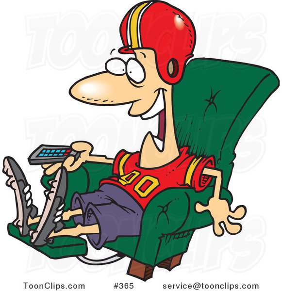 Cartoon Football Fan Watching TV in an Arm Chair