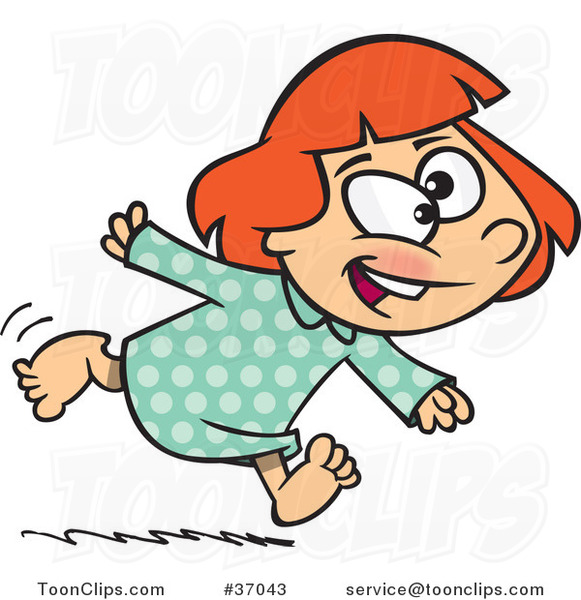 Cartoon Excited Girl Running in Her Pajamas