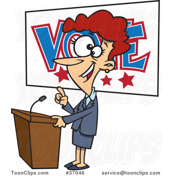Cartoon Female Politician Giving a Speech Before an Election
