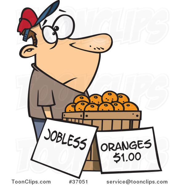 Cartoon Unemployed Guy Trying to Sell Oranges