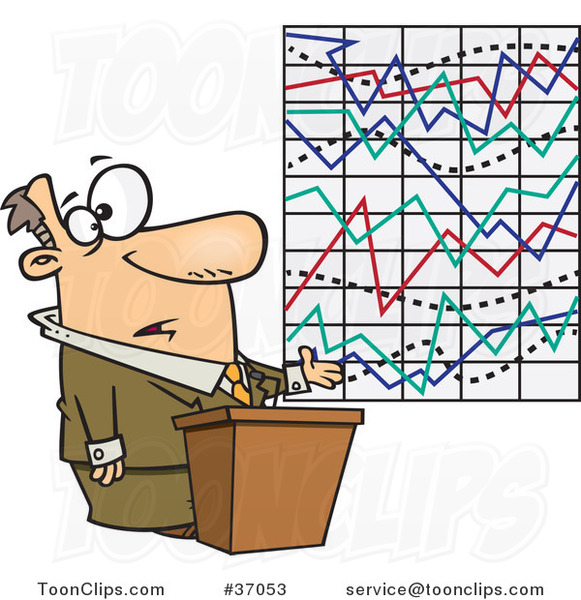 Cartoon Business Man Trying to Explain a Messed up Graph