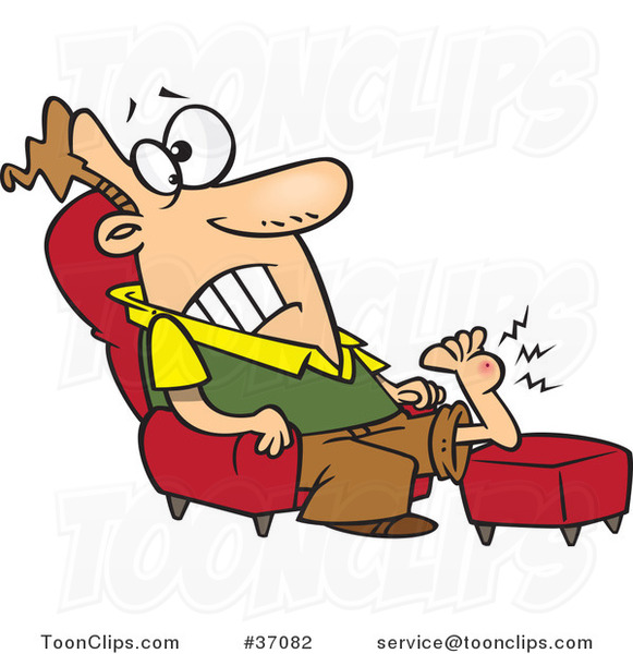 Cartoon Guy Resting His Wart Covered Foot