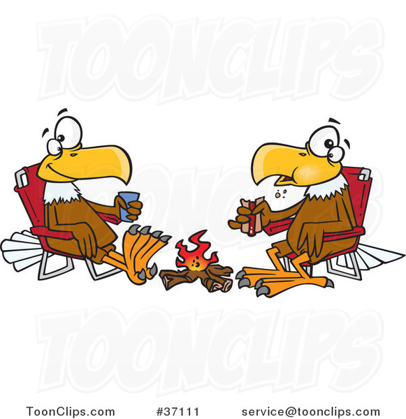 Cartoon Eagle Friends Eating Lunch by a Camp Fire
