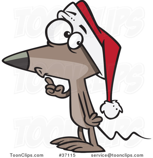 Cartoon Quiet Christmas Mouse Gesturing to Hush