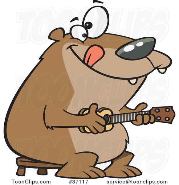Cartoon Bear Playing a Ukelele