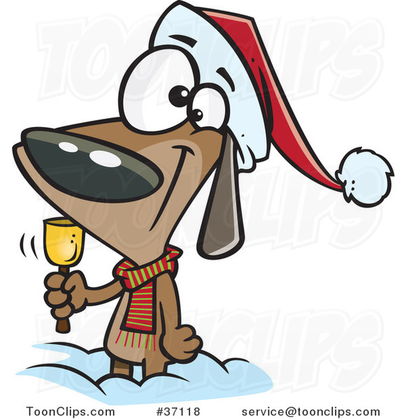 Cartoon Christmas Dog Ringing a Bell for Donations