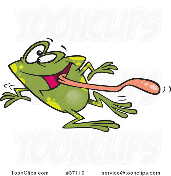 Cartoon Dizzy Frog Having Fun on Dance Day