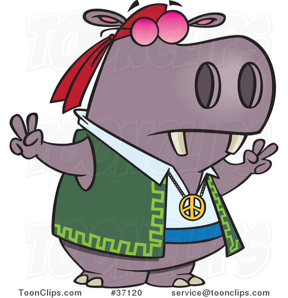 Cartoon Purple Hippie Hippo Gesturing Peace