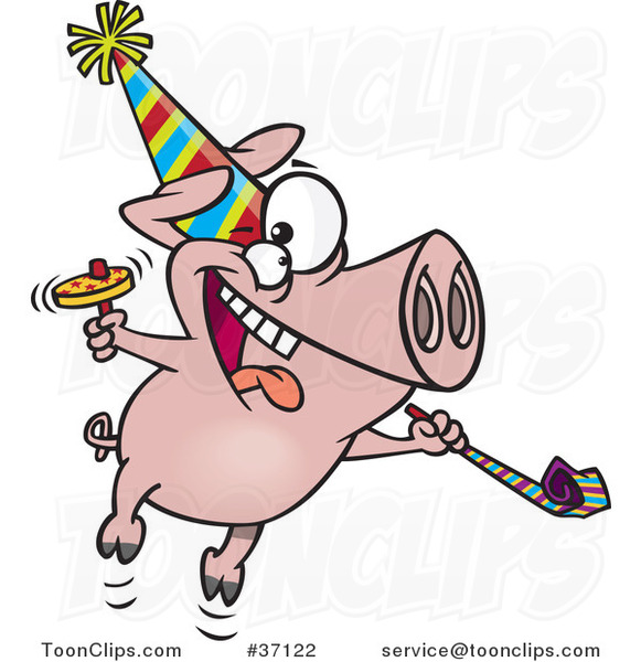 Cartoon New Year Party Pig
