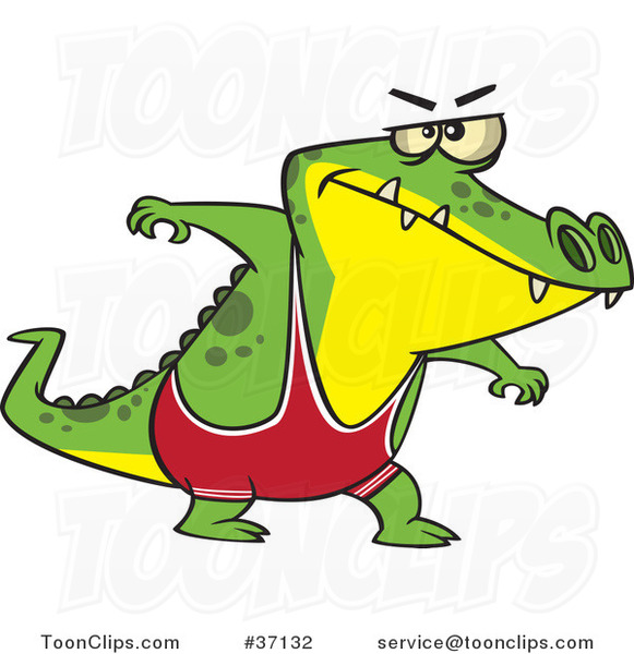 Cartoon Wrestler Alligator