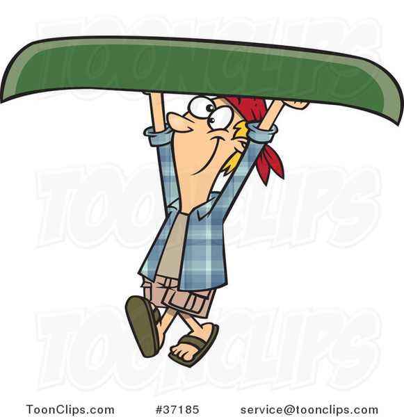 Cartoon Happy Guy Carrying a Canoe over His Head