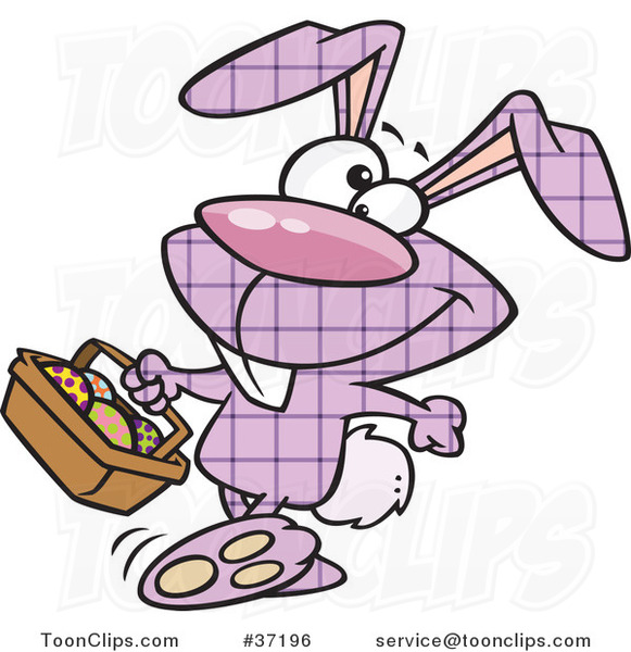 Cartoon Happy Purple Plaid Easter Bunny Carrying a Basket of Eggs