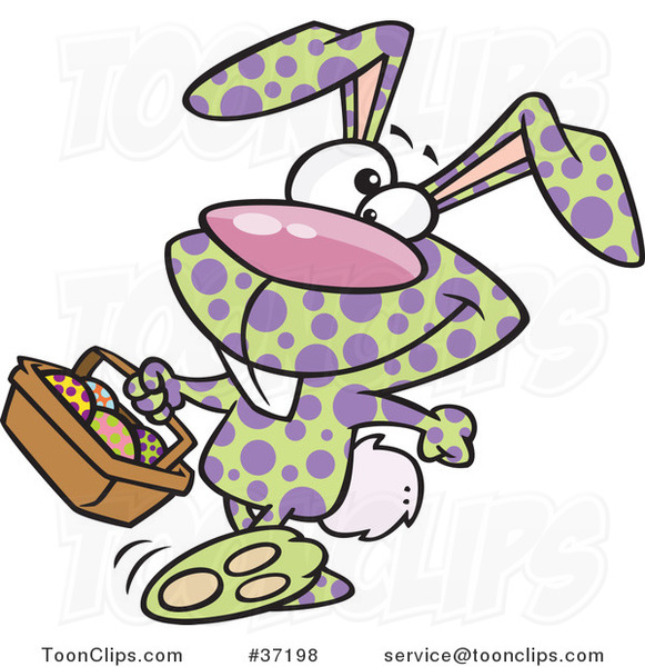 Cartoon Happy Speckled Easter Bunny Carrying a Basket of Eggs