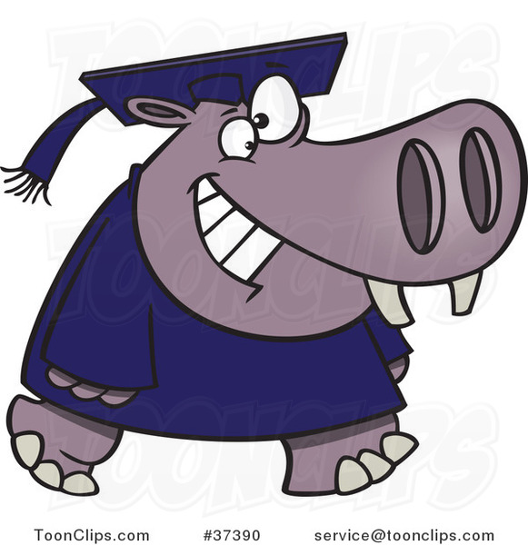 Cartoon Graduate Hippo Walking and Smiling