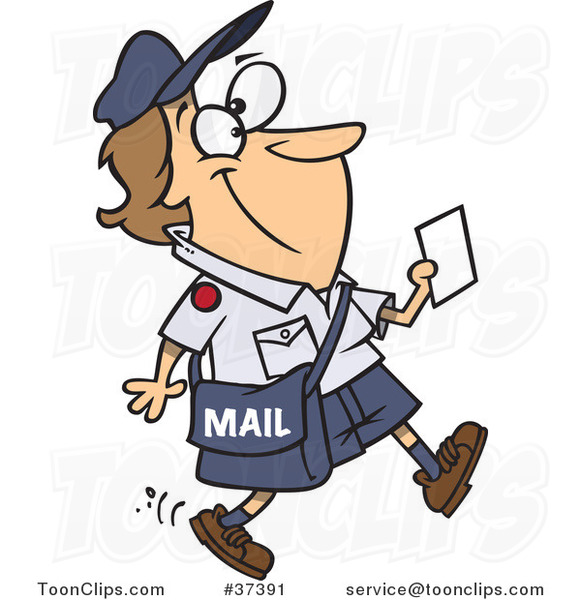 Cartoon Happy Mail Lady Walking and Carrying a Message