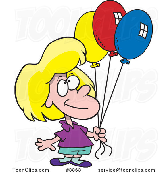 Cartoon Birthday Girl Holding Three Balloons