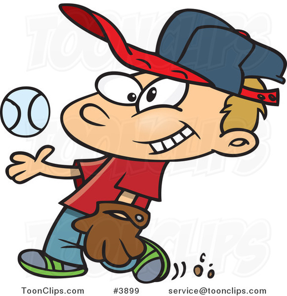 Cartoon Boy Tossing and Catching a Baseball