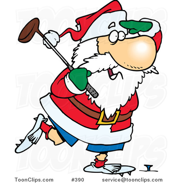 Cartoon Santa Golfing