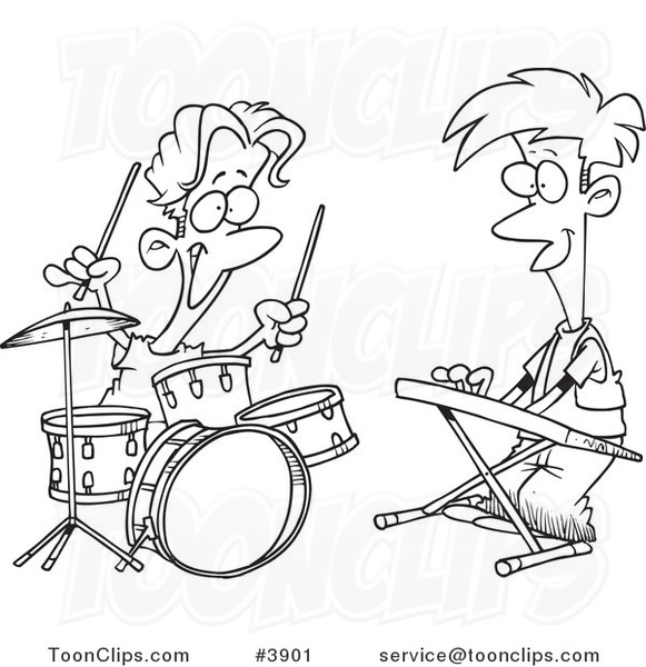 ... White Line Drawing of Boys Drumming and Keyboarding in a Band #3901