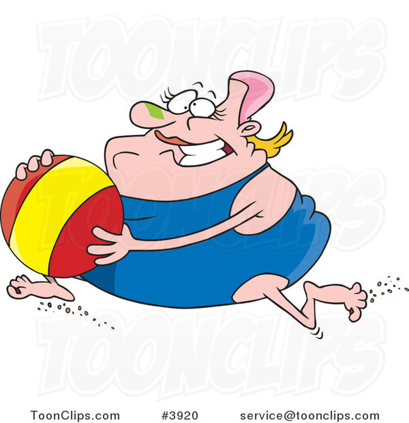 beach ball cartoon. Running with a Beach Ball