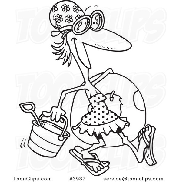 Line Drawing Beach : Cartoon black and white line drawing of a summer lady