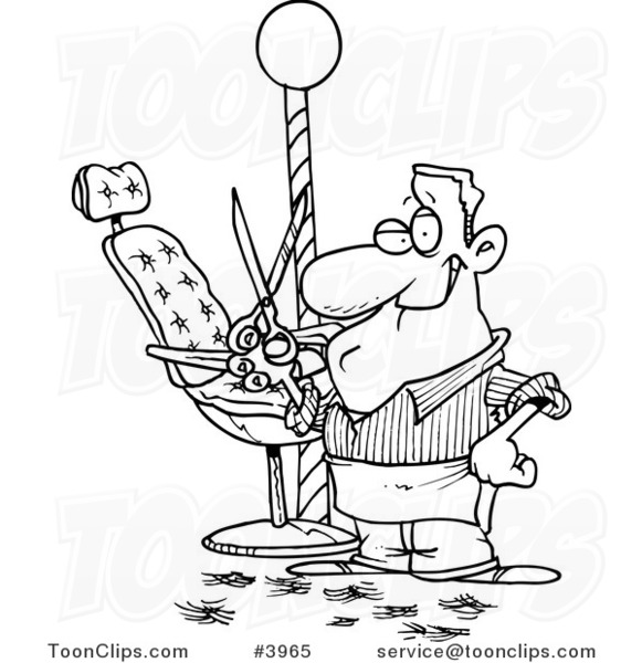 Line drawing of a barber standing by his chair and holding up scissors