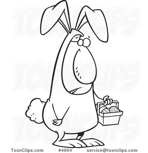 Line Drawing Easter Bunny : Cartoon black and white line drawing of an easter bunny
