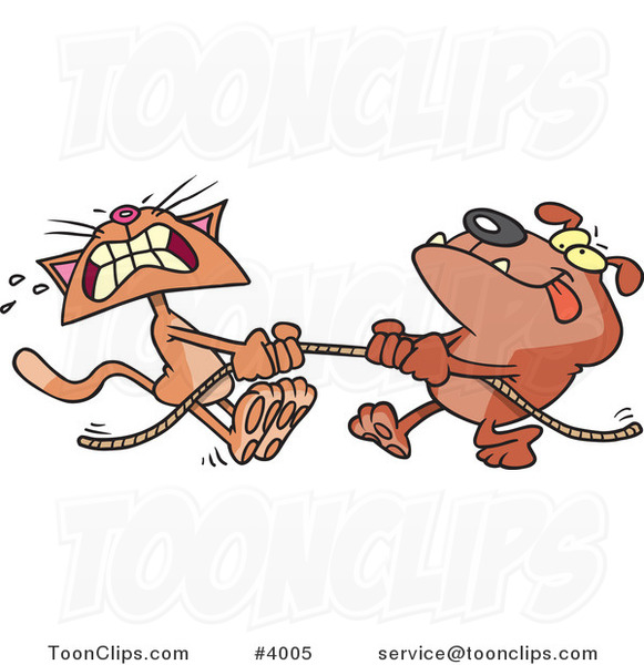 Cartoon Bull Dog and Cat Playing Tug of War