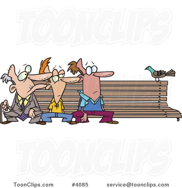 cartoon three men watching a bird on a bench 4085 by ron