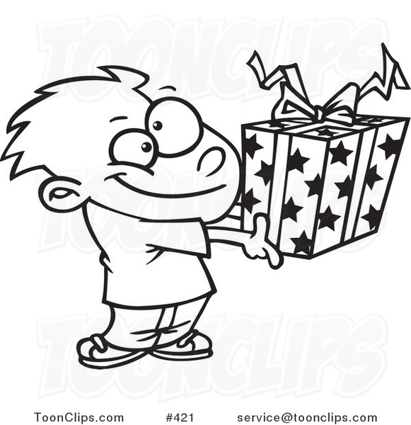 Cartoon Coloring Page Line Art Of A Boy Holding A Gift Box