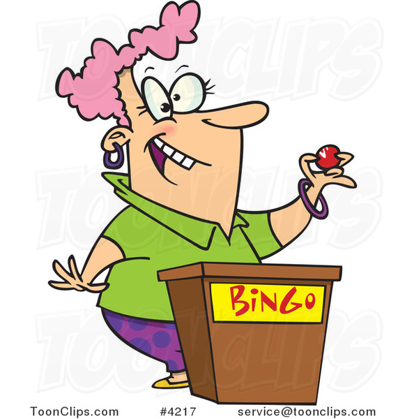 Cartoon Lady Calling Bingo Numbers