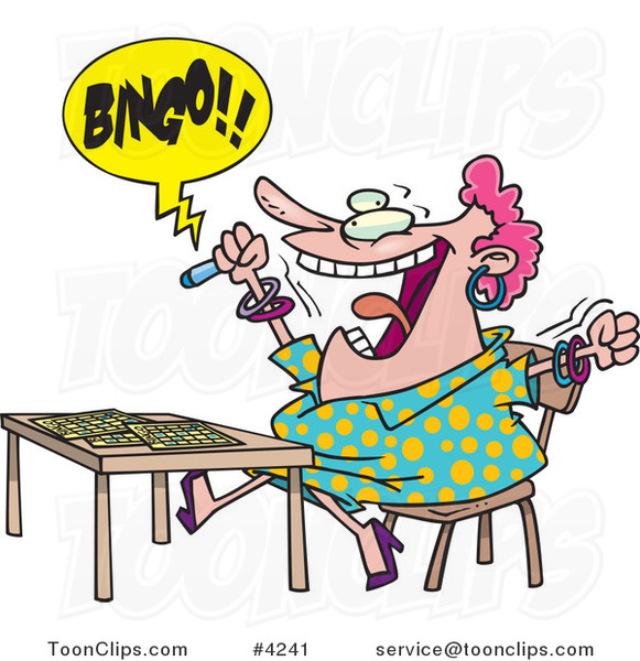 Cartoon Lady Shouting Bingo