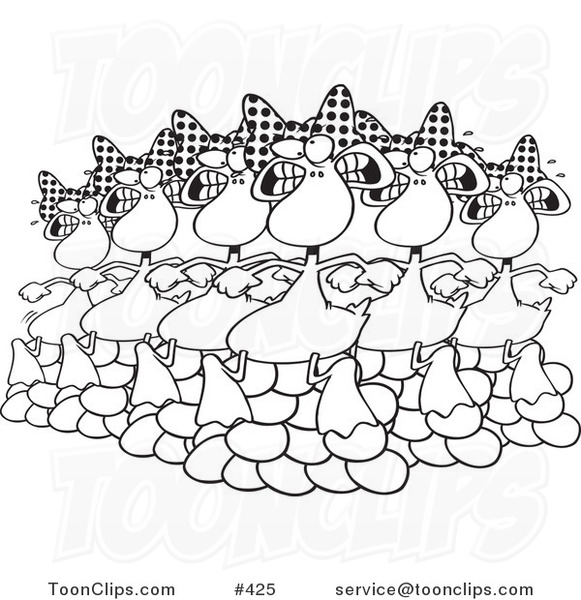 Cartoon Coloring Page Line Art of Six Geese a Laying