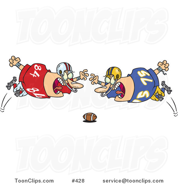 Cartoon Football Players Diving Towards the Ball