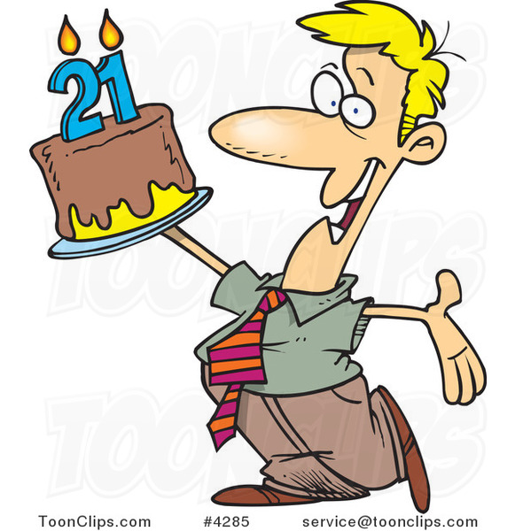 Cartoon Birthday Guy Holding up a Cake