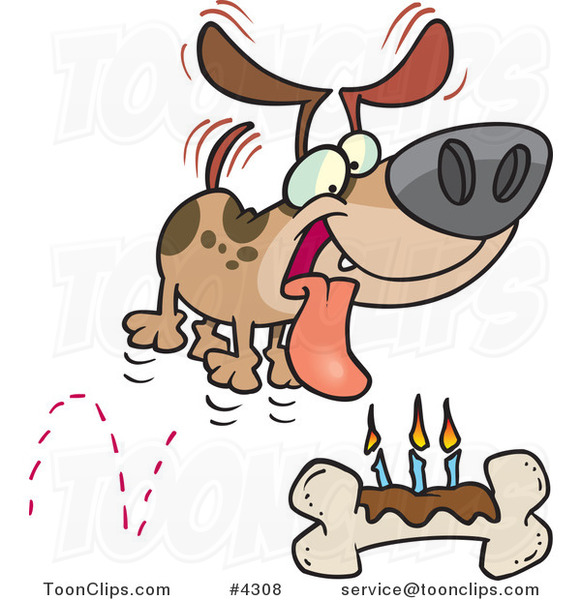 Cartoon Birthday Dog with a Bone Cake