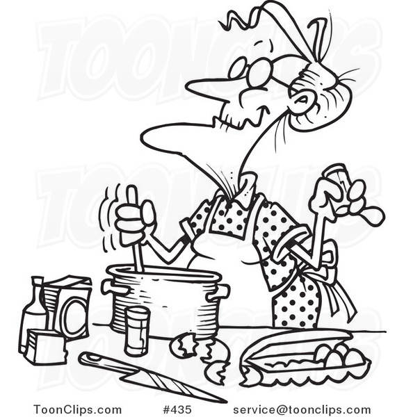 Cartoon coloring page line art of an old lady baking 435 for Old lady coloring page