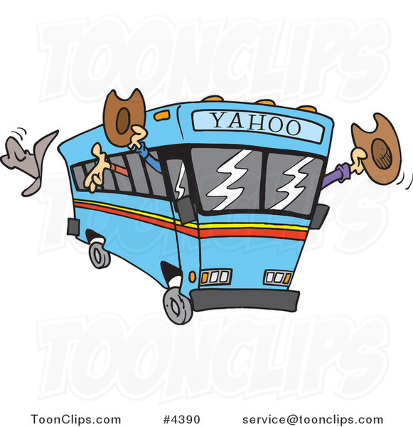 Cartoon Yahoo Bus Loaded with Cowboys