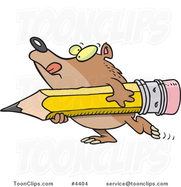 Cartoon Bear Carrying a Pencil