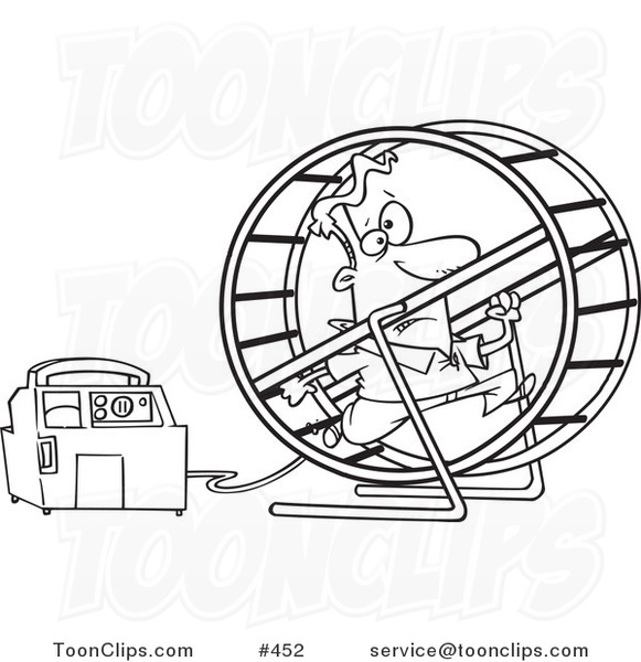 Line Drawing Generator : Cartoon coloring page line art of a guy running in wheel