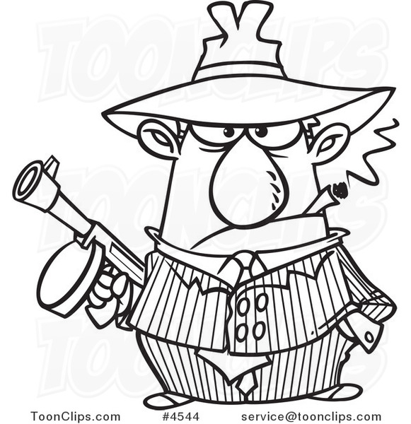 Cartoon black and white line drawing of a gangster holding a gun and