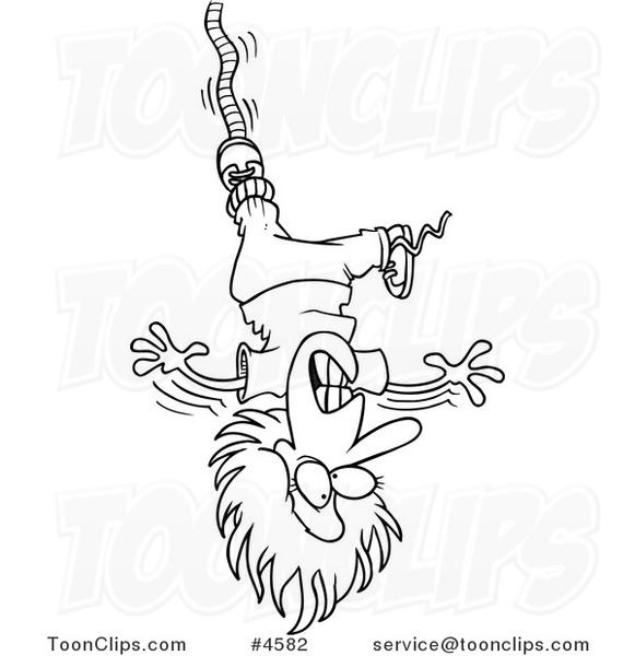 Line Drawing Jumper : Cartoon black and white line drawing of a female bungee