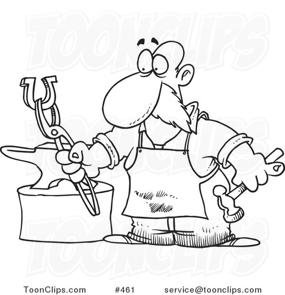 Cartoon Coloring Page Line Art of a Blacksmith Working on a Horseshoe ...