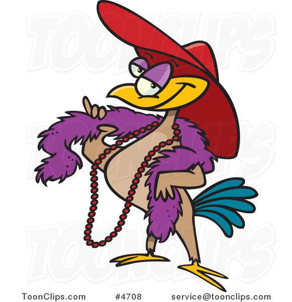 Cartoon Stylish Bird Wearing A Hat #4708 By Ron Leishman
