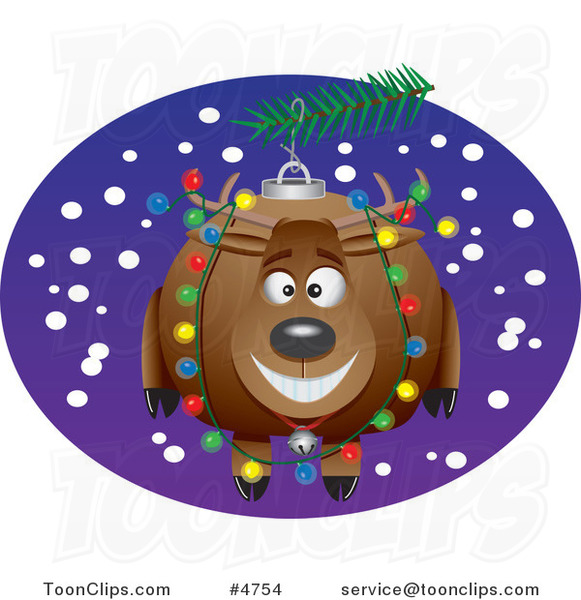 Cartoon Reindeer Christmas Ornament